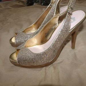 Juicy Couture Gold Bling Open Toe Stiletto Shoes